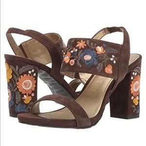 Anne Klein Orinda Suede Embroidered Sandals